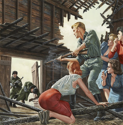 Mort Kunstler, Shootout With Russians in Barn, Male or Stag cover, circa 1965