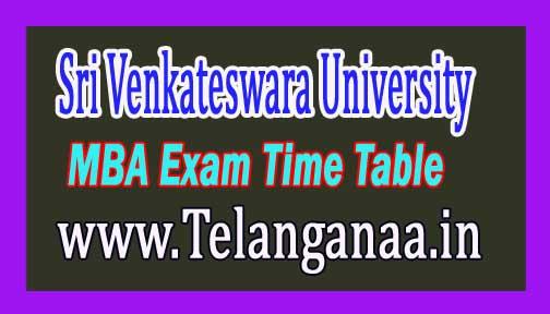 Sri Venkateswara University SVU MBA 3rd Sem Time Table