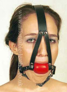 Comfortable Head Harness Ball Gag with Soft Rubber Red or Black Ball