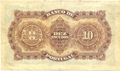 Portuguese currency money 10 Escudos banknote