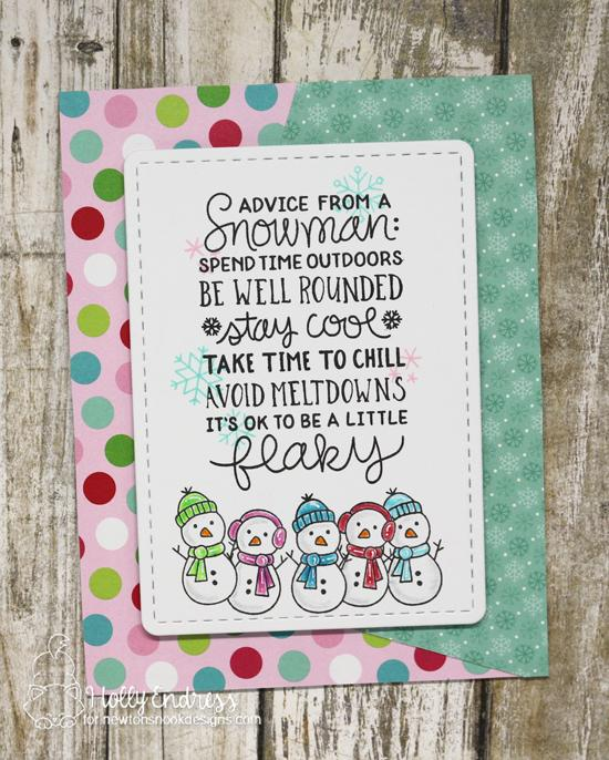 Snowman Card by Holly Endress | Snowman Advice Stamp Set by Newton's Nook Designs #newtonsnook #handmade