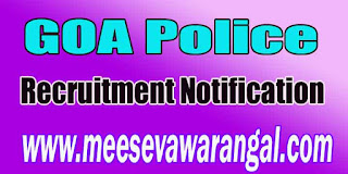 GOA Police Recruitment Notification 2016 goapolice.gov.in