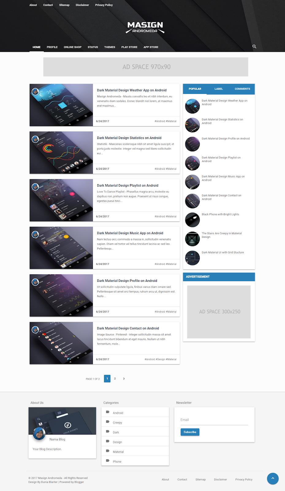 Masign Andromeda Responsive Material Design Blogger Template ...