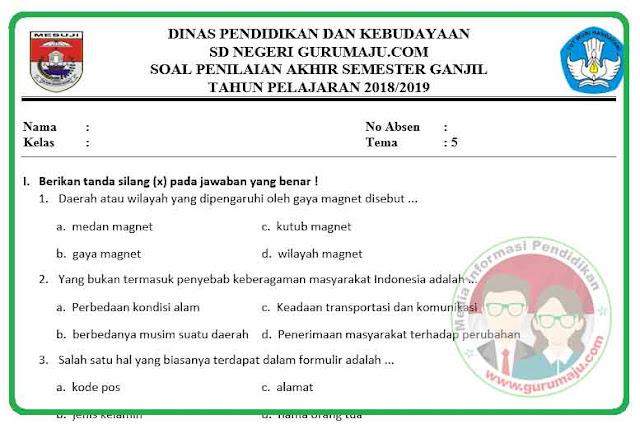 Soal PAS / UAS Kelas 6 Tema 5 Kurikulum 2013 Revisi 2018
