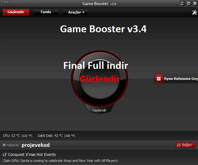 Game Booster 3'ün .4 final sürümü oyunlarınızı bilgisayarınızı hızlandırıp güçlendirebilirsiniz.