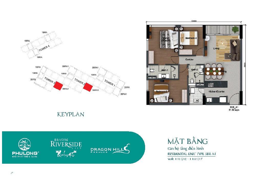 Thiết kế căn 3 phòng ngủ 91.52m2 tại Dragon Riverside City