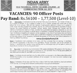 Indian Army 10+2 Technical Entry Scheme 2019