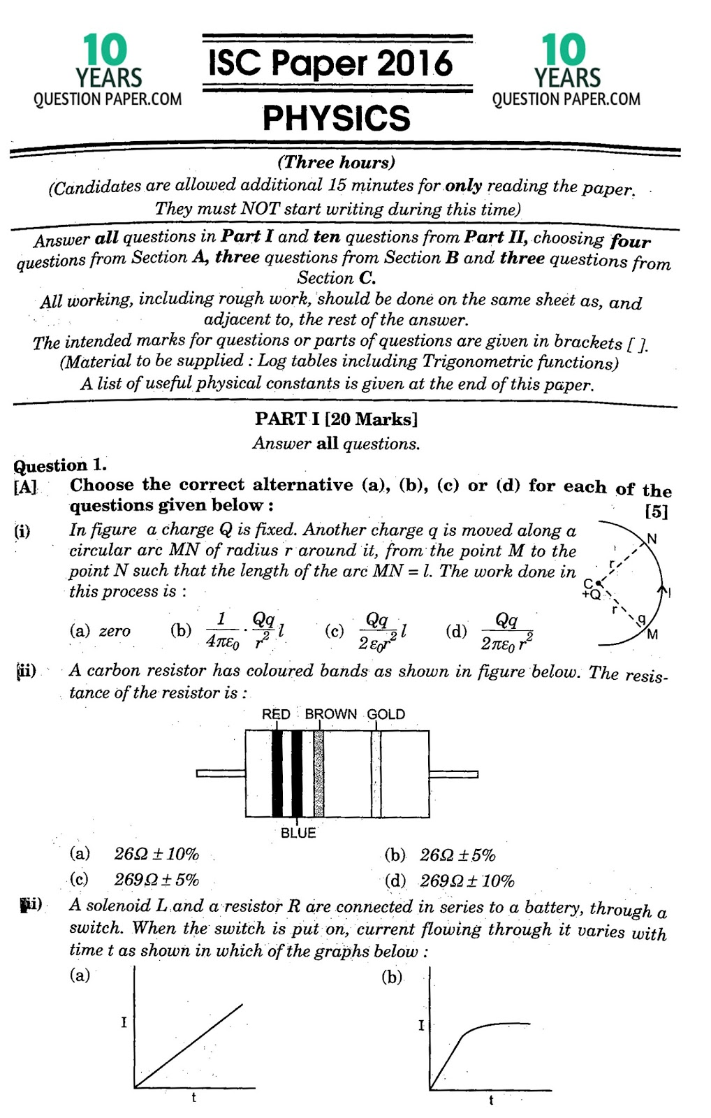 isc 2016 physics solved paper 10 years question paper note the solution will be sent in your email in 24 hr