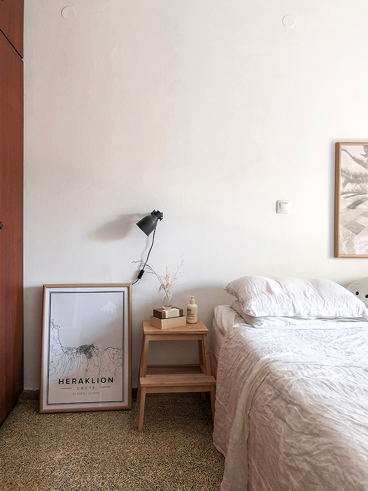 Calm bedroom design, simple interior design, casual cozy bedroom, white linen bedding, terrazzo floor. Styling and photo by Eleni Psyllaki for My Paradissi