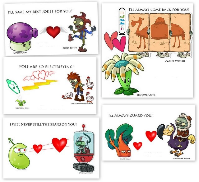 Kids Cards: Valentine Cards: Plants versus zombies Friendships for Fun