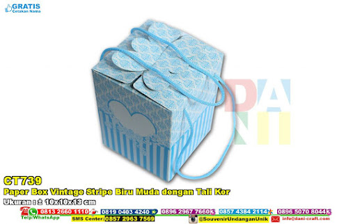 Paper Box Vintage Stripe Biru Muda Dengan Tali Kor