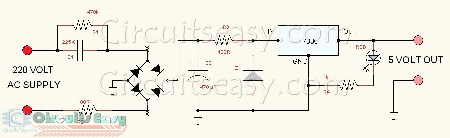 5 Volt Transformer Less Power Supply Circuit