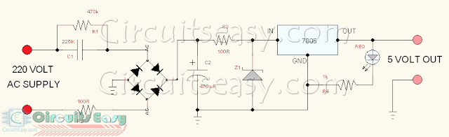 5 VOLT TRANSFORMER LESS POWER SUPPLY CIRCUIT