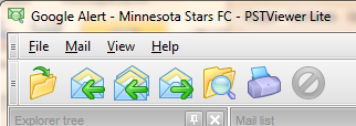 EmlViewer Lite functions in toolbar.