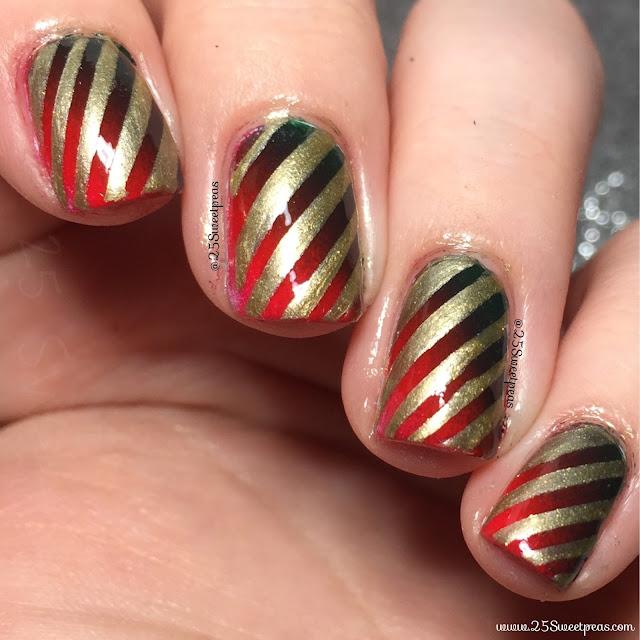 Holiday Stripe Nail Art - 25 Sweetpeas