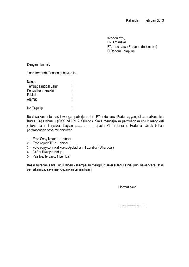 28 Surat Lamaran Kerja Indomaret Crew Store Koleksi Letter