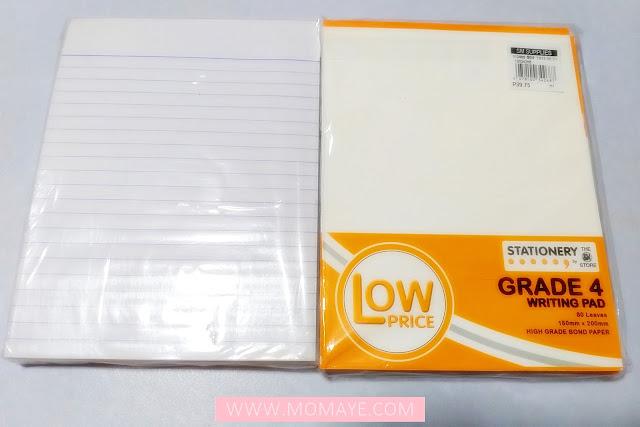 SM Department Store, SM Stationery, writing pad, Grade 4