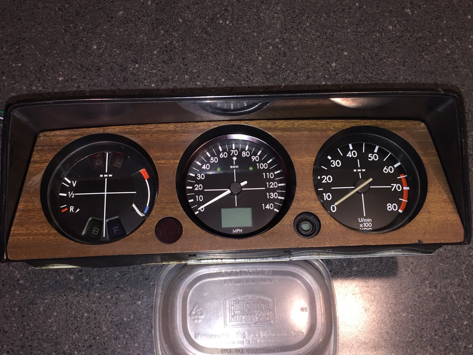 small resolution of i m very happy with the look once installed the custom gauge face is nearly a perfect match if only the bmw lettering was spaced a little wider apart