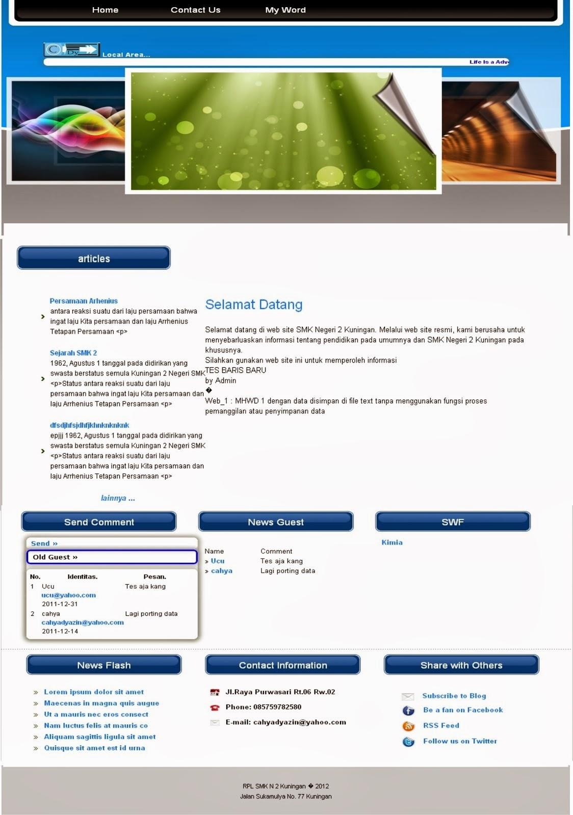 Contoh Website Sistem Informasi Sederhana Log Of Cahya