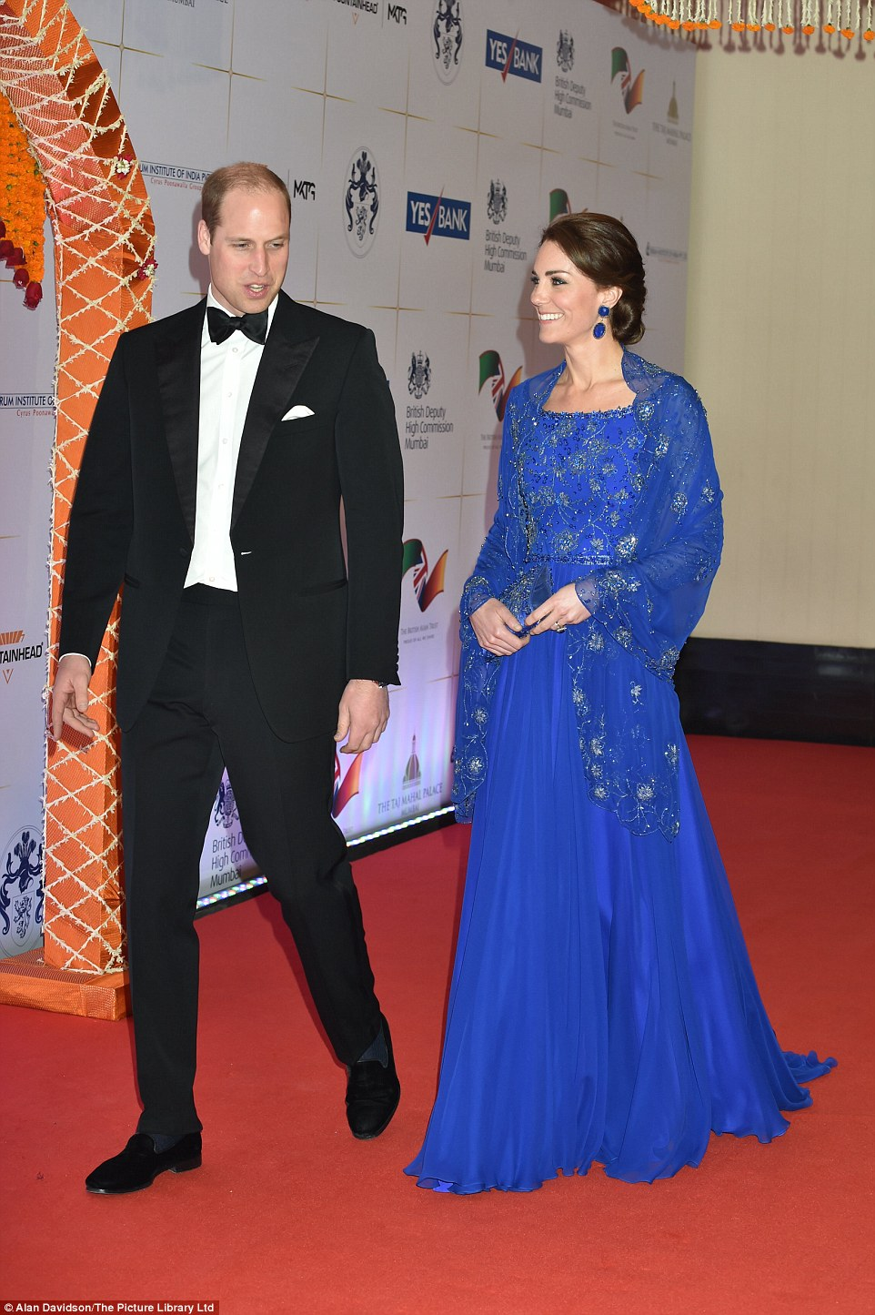 Kate Middleton wore a Jenny Packham gown with silver embellishments and beadings
