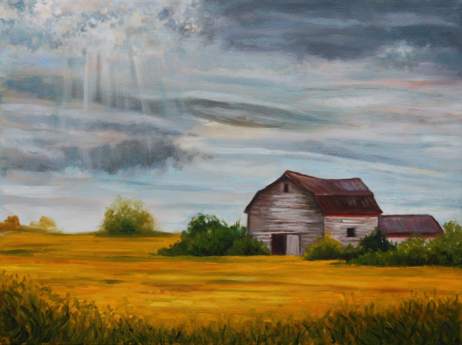 Field S End Art By Hilary J England Old Barn In The
