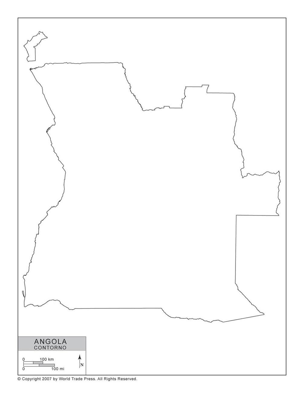 Mapa de Angola com Contorno