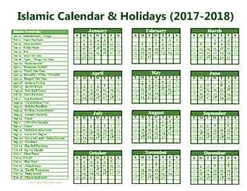 2018 calendar islamic date view source