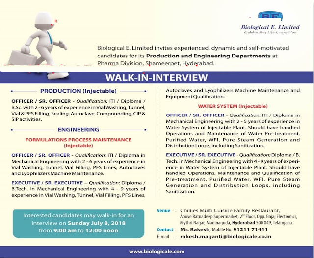 Biological E. Limited  Walk In Interview For Multiple Postions at 8 July