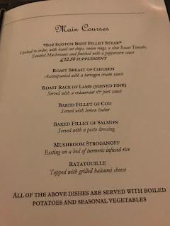 menu from stobo castle hotel and spa