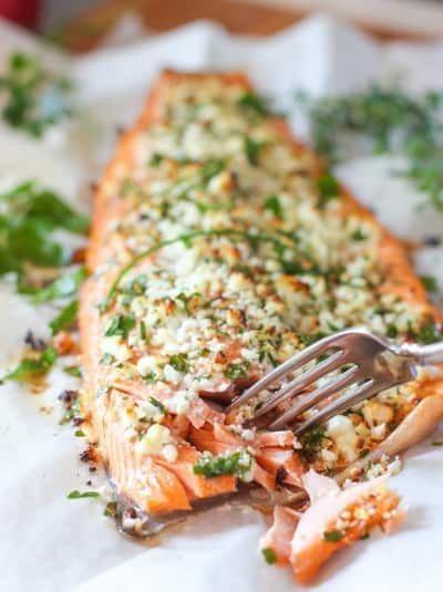Feta and Herb Crusted Salmon