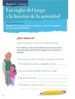 Apoyo Primaria Formación Cívica y Ética 1er Grado Bloque 4 Lección 5 Las reglas del juego y la función de la autoridad
