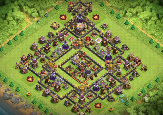 Base Hybrid TH 11 COC Update Bomb Tower Terbaru 2017 Tipe 2
