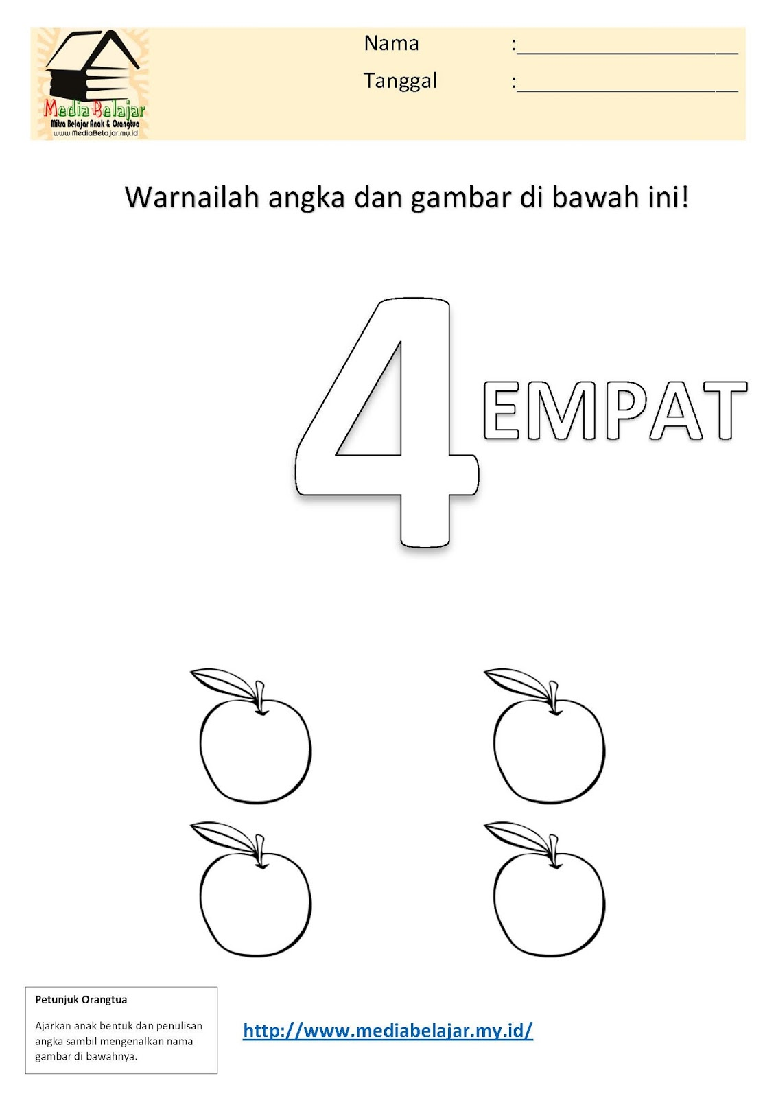 Mewarnai Angka 4 Empat Dan Mewarnai Buah Apel