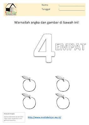 Mewarnai Angka 4 (empat) dan Mewarnai Buah Apel