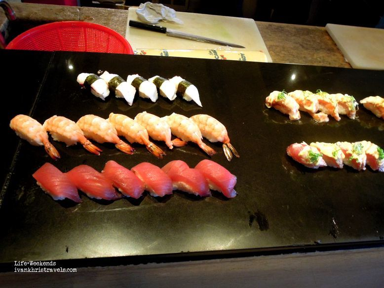 Sushi and sashimi station at New World Hotel's Cafe 1228