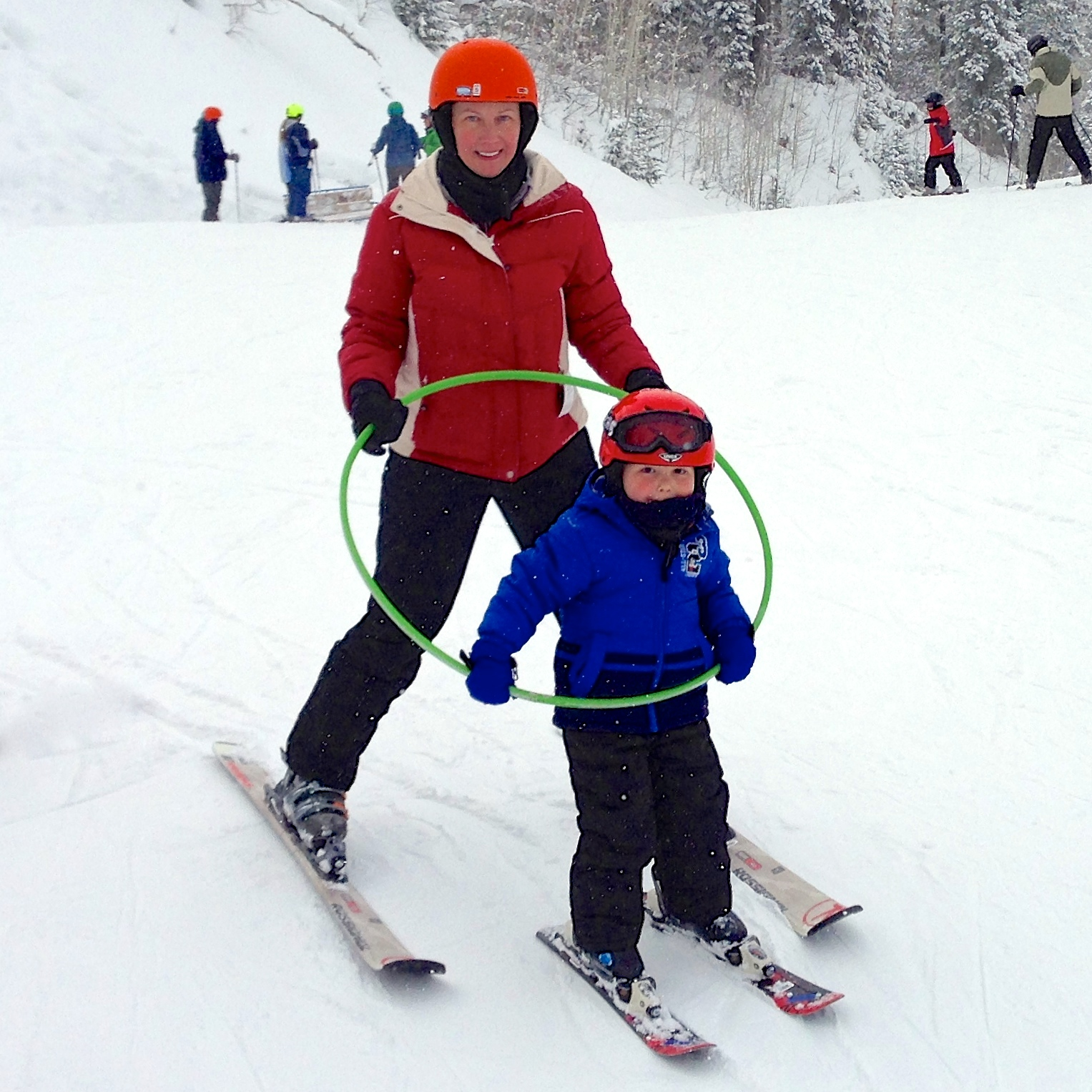 Kate and Jackson skiing