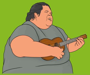 ウクレレを弾きながら歌うイズ。 イズリアル・カマカヴィヴォオレ Israel Kaʻanoʻi Kamakawiwoʻole