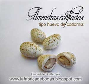Dulces para  eventos almendras para bodas para colocar como huevos en nidos