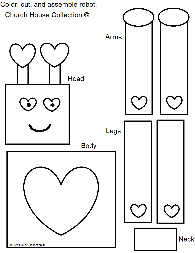 Valentine Robot Craft for Kids Cutout Free Printable Template