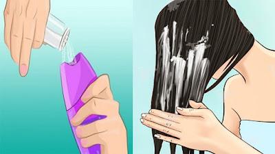 Combattre les cheveux gras en mélangeant le sel de mer dans le shampooing