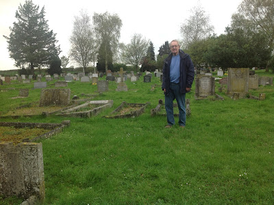 Tony Kemp at Great Shelford village cemetery - standing before the unmarked grave of Engelbertus Fukken a.k.a. Jan Willem Ter Braak. (Copyright Tony Kemp - All Rights Reserved - Used with Permission)