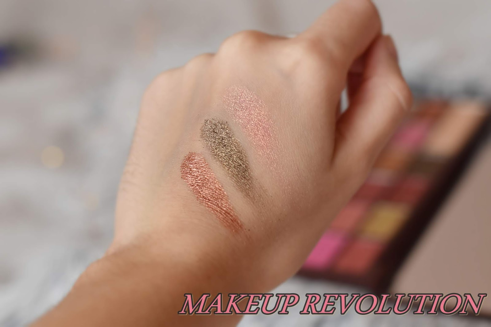 makeup revolution rose gold swatches