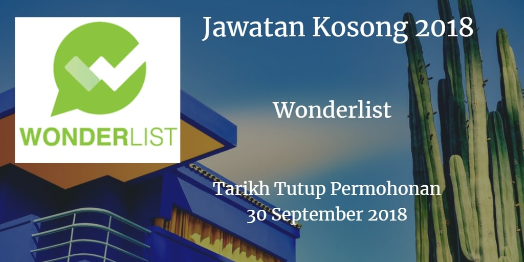 Jawatan Kosong Wonderlist 30 September 2018