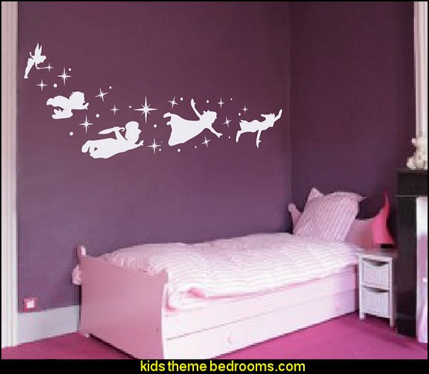 Peter Pan Children Flying Silhouette Fantasy Fairytale Magic Tinkerbell Wall Decal for Nursery Baby Kids Bedding Art Mural