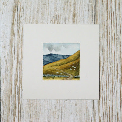 Miniature Scottish watercolour with sheep
