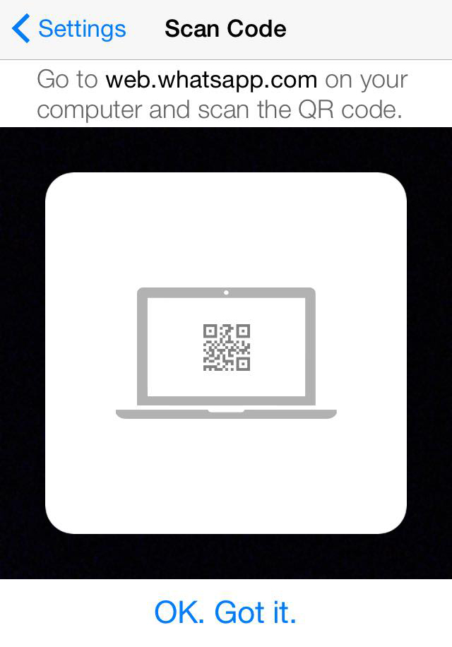 whatsapp web QR scan
