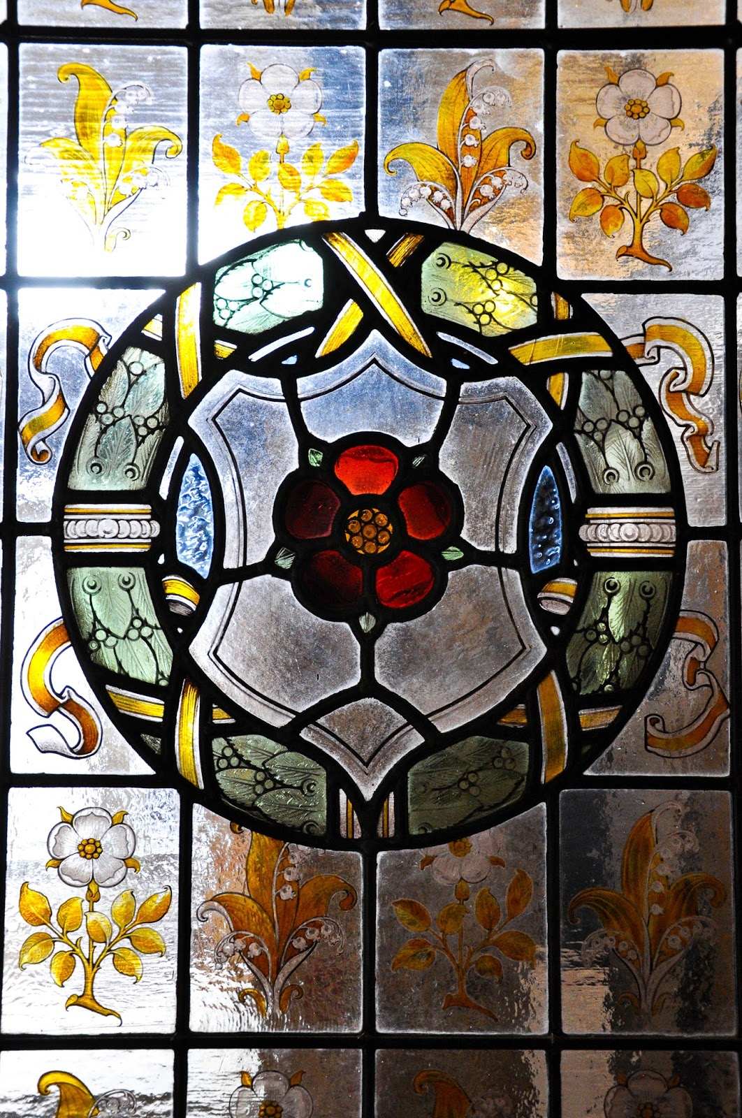 Stained glass, King Charles's bedroom, Carisbrook Castle, Isle of Wight, UK-2