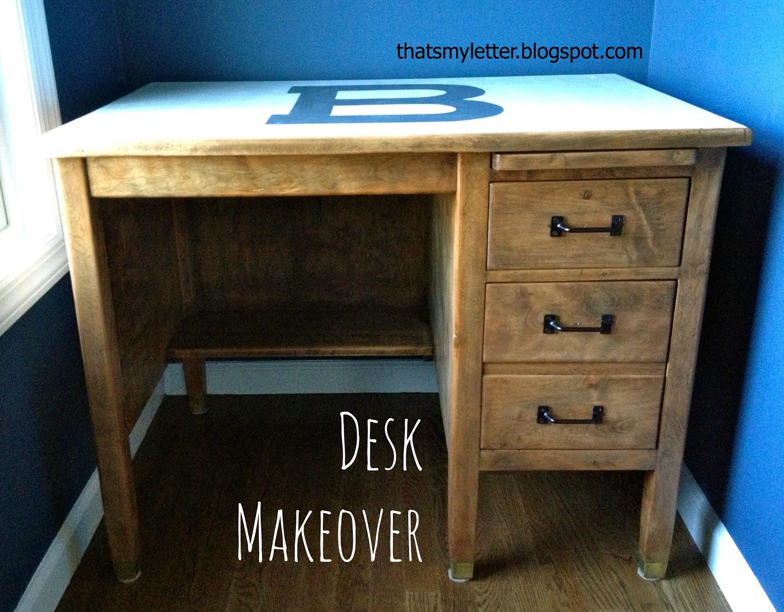 Desk Makeover With Monogram