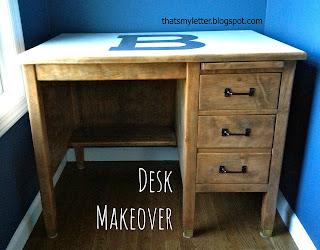 refinished teachers vintage wood desk