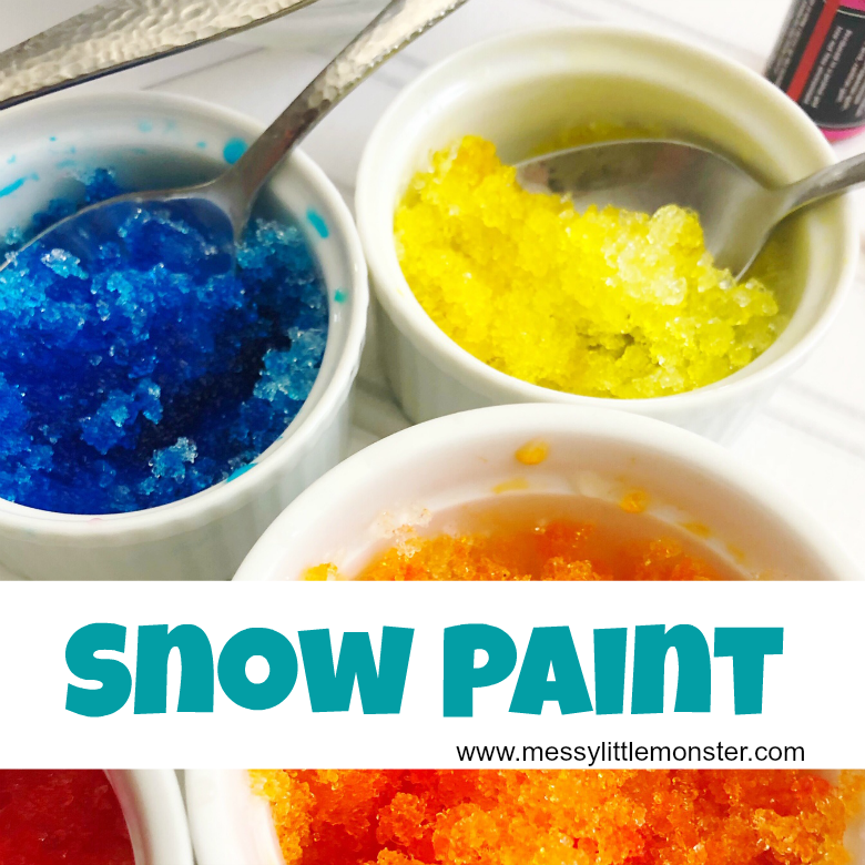 How to make snow paint using our 2 ingredient snow paint recipe. Snow painting is such a fun snow activity for kids.